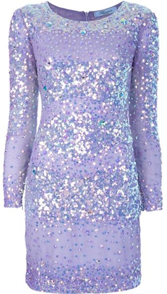Blumarine Sparkly Striped Dress in Silver (purple)