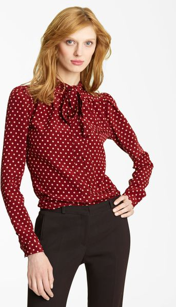 Burberry Prorsum Tie Neck Silk Blouse in Red (cherry) - Lyst
