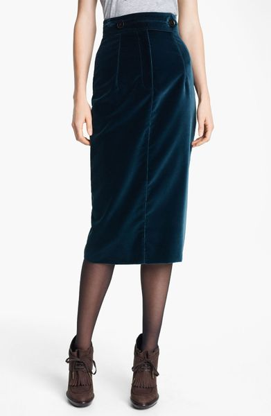 Burberry Prorsum Velvet Pencil Skirt in Blue (indigo green) - Lyst