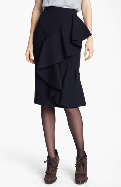 Burberry Prorsum Ruffled Skirt in Blue (ink) - Lyst