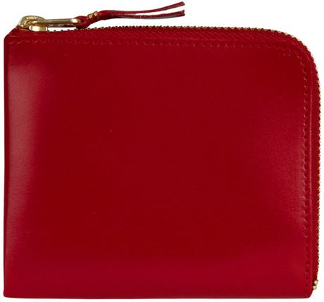 Comme Des Garçons Red Leather Coin Wallet in Red for Men - Lyst