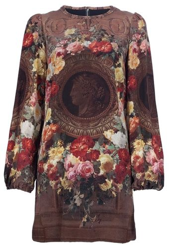Dolce & Gabbana Floral Printed Silk Dress - Lyst