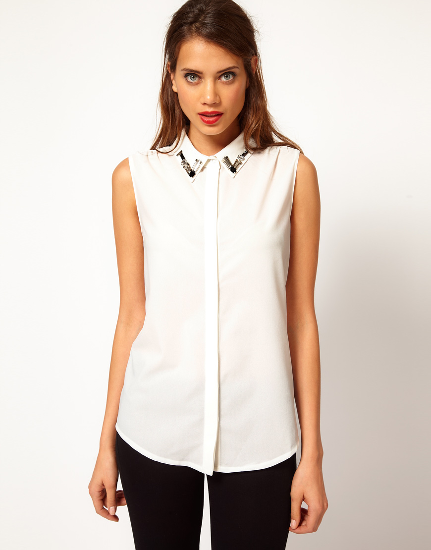 Glamorous Jewelled Collar Sleeveless Shirt In Natural Lyst