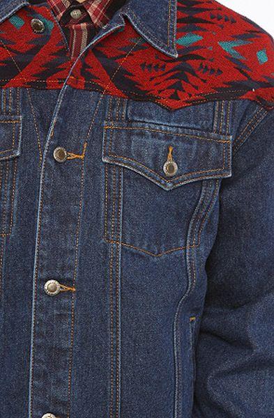 pendleton the denim jacket with jacquard yoke in blue in blue for men  denim