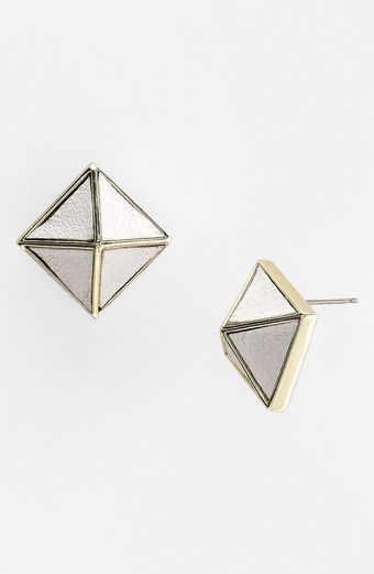 Belle Noel Leather Pyramid Stud Earrings - Lyst