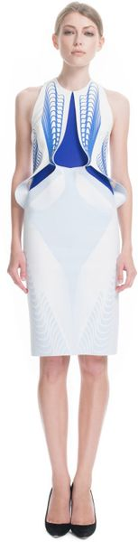 Dion Lee Ss Ozone Thermal Loop Dress in White (silver blue/oil slick) - Lyst