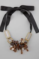 Marni Beaded Bib Ribbon Necklace - Lyst