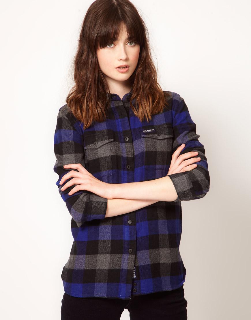 Lyst penfield flannel check slim fit boyfriend shirt in blue for Women s slim fit flannel shirt