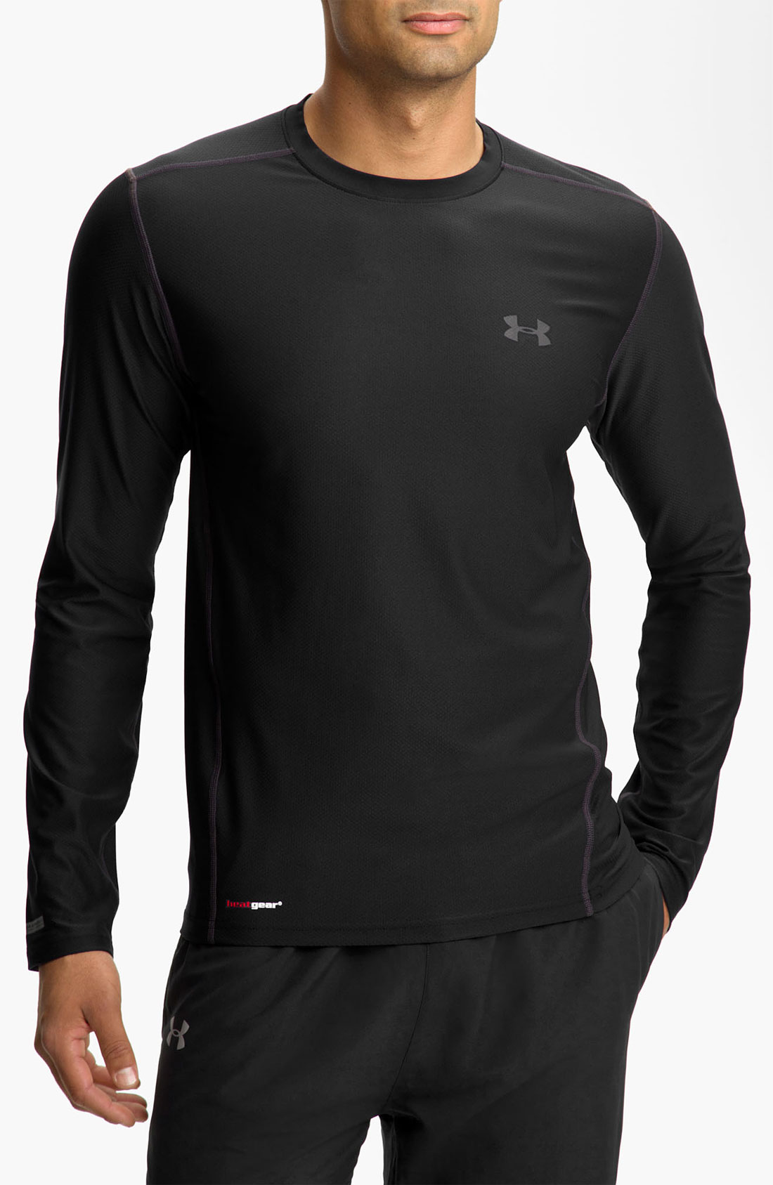 Under armour heatgear fitted long sleeve tshirt in black for Black fitted long sleeve t shirts