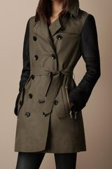 Burberry Brit Short Leather Sleeve Cotton Trench Coat - Lyst