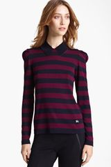 Burberry Stripe Knit Top - Lyst