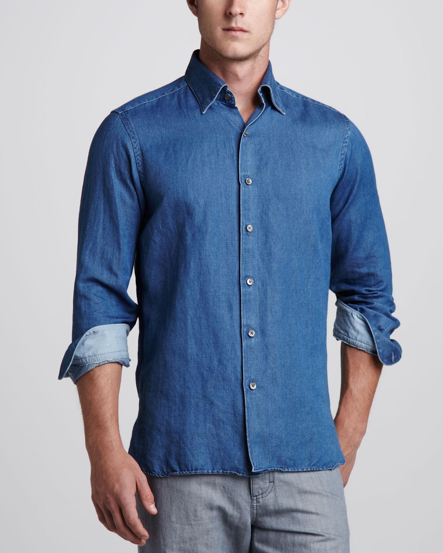 ermenegildo zegna cottonlinen sport shirt denim in blue for men lyst. Black Bedroom Furniture Sets. Home Design Ideas