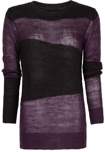 Mango Mohair Striped Sweater in Purple - Lyst