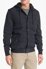 RVCA Mixed Media Hooded Jacket - Lyst