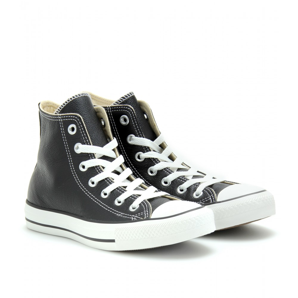 72ae4b648f7 ... usa lyst converse chuck taylor all star leather hightops in black 5c72d  4f9b9 ...