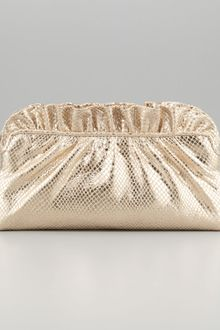 Lauren Merkin Georgie Pythonembossed Ruffletop Clutch Bag Pale Gold - Lyst