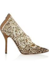 Oscar De La Renta Eva Sequined Satin Pumps in Gold (bronze) - Lyst