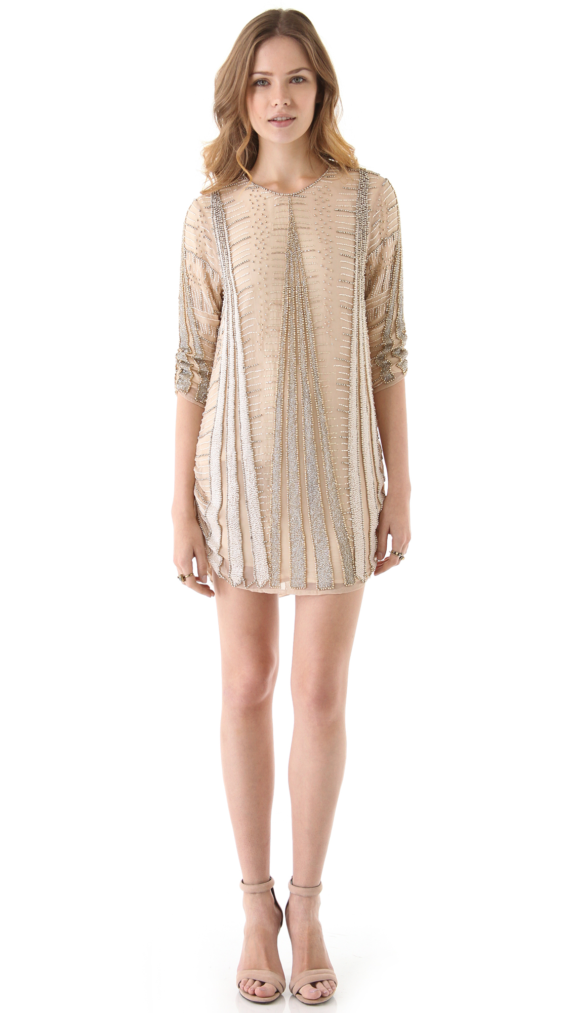 Lyst - Parker Art Deco Beaded Dress in Natural
