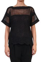 Valentino Couture Lace Tshirt with Braid Trimming