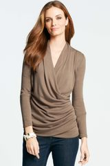 Ann Taylor Petite Pleated Vneck Wrap Top - Lyst