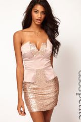 Asos Strapless Peplum Dress in Sequins - Lyst