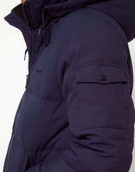 Carhartt Down Filled Jacket With Removable Hood In Blue