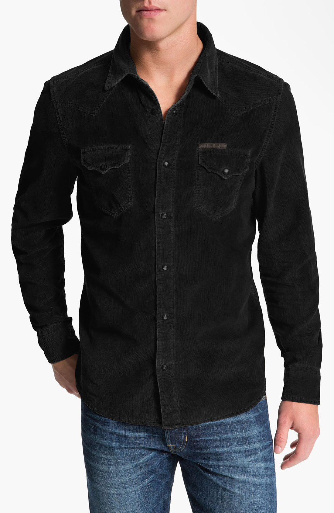 diesel svarog corduroy shirt in black for men lyst