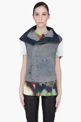 DRKSHDW by Rick Owens Grey Denim Biker Vest - Lyst