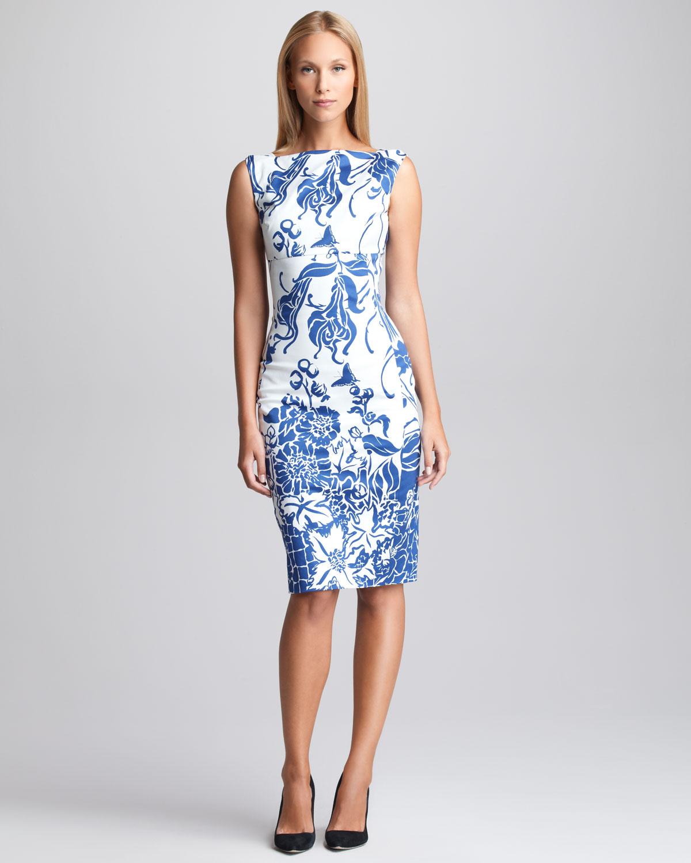 Emilio pucci printed twill sheath dress in blue blue white lyst