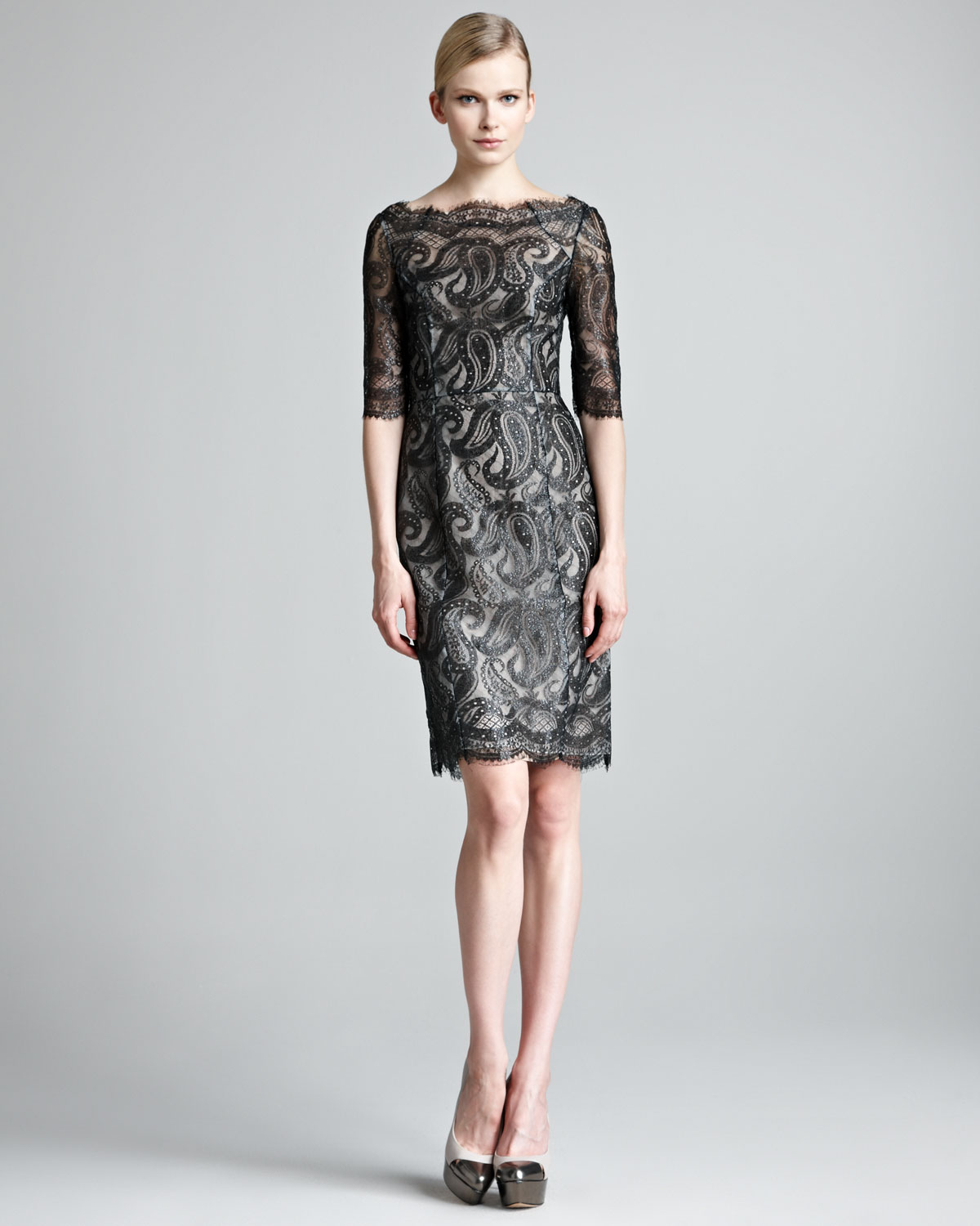 Erdem Lacquered Paisley Lace Dress In Black
