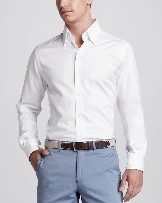 Ermenegildo zegna herringbone buttondown shirt in white for White herringbone dress shirt