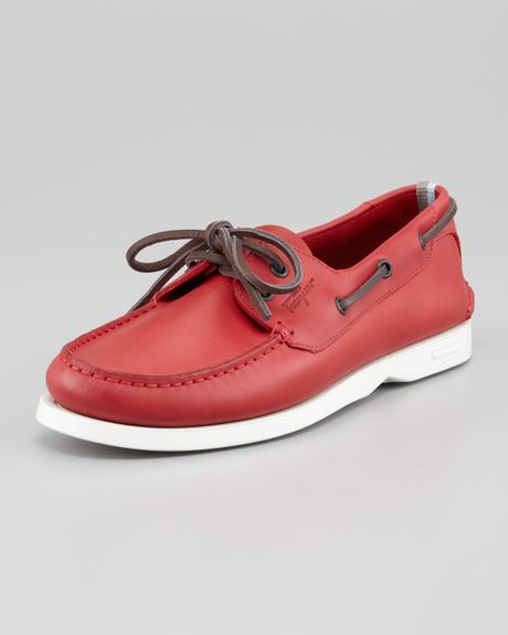 Ferragamo World Boat Shoe Red in Red for Men (null) - Lyst