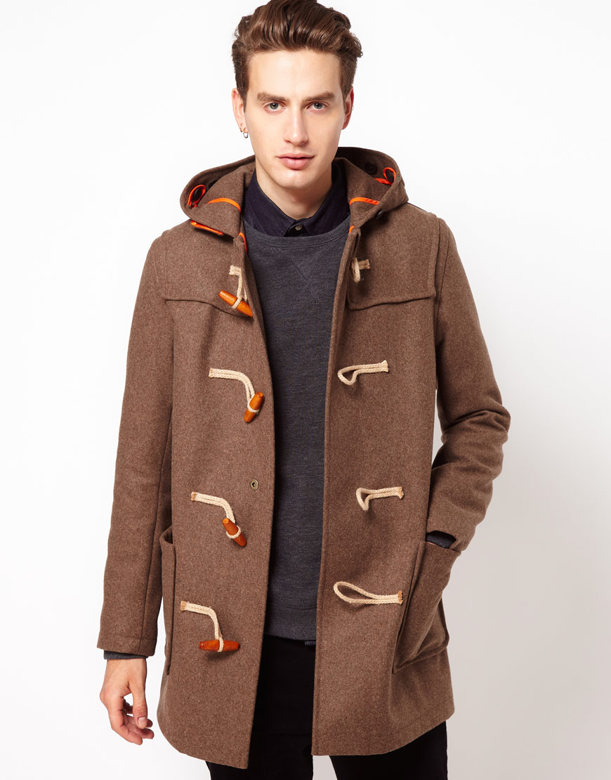 Gloverall Made in London Melton Wool Duffle Coat in Brown for Men ...