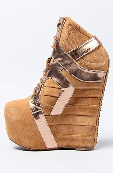jeffrey campbell the aksana shoe in nude suede and rose gold in beige  nude