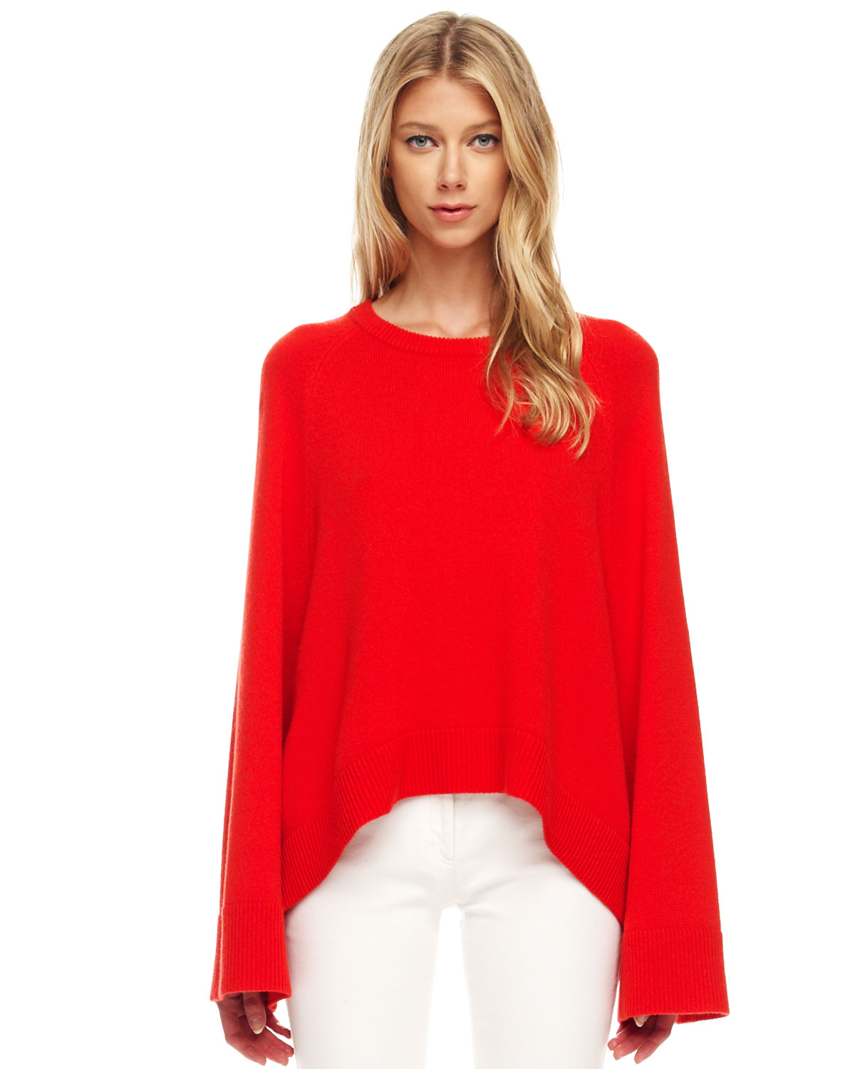 Michael kors Arch hem Cashmere Sweater in Red | Lyst