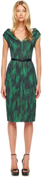 Michael Kors Printed Cady Dress in Green (emerald mul) - Lyst