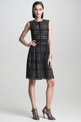Oscar de la Renta Buttonfront Lattice Dress - Lyst