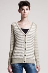 Rag & Bone Laura Striped Metallic Cardigan - Lyst