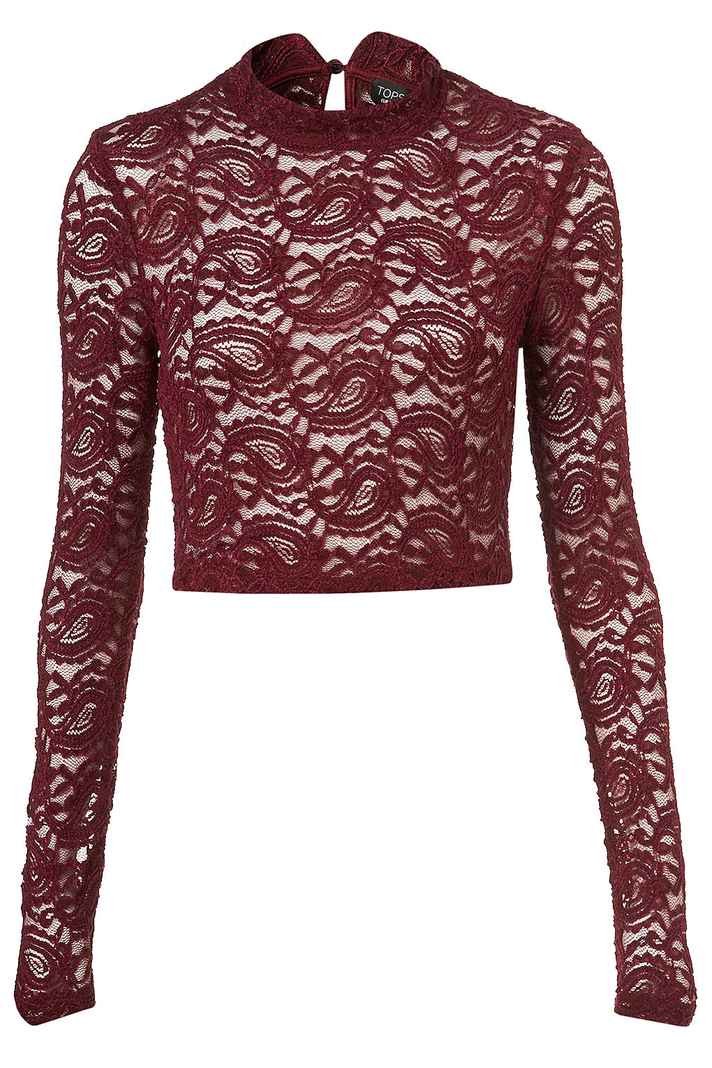 a6f4d7b7627 TOPSHOP Lace Roll Neck Crop Top in Purple - Lyst