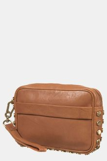 Topshop Studded Leather Clutch - Lyst
