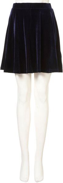 topshop navy velvet skater skirt in blue navy blue lyst
