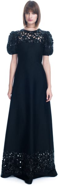 Valentino Ss Mikado Embroidered Short Sleeve Gown in Black (nero) - Lyst