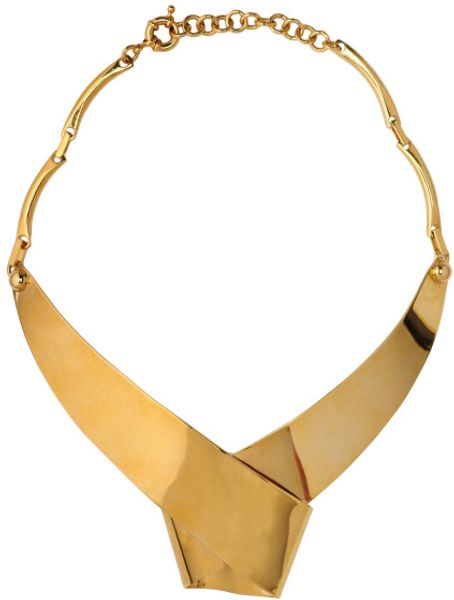 Vionnet Resort Wrapped Ribbon Collar Necklace in Gold - Lyst