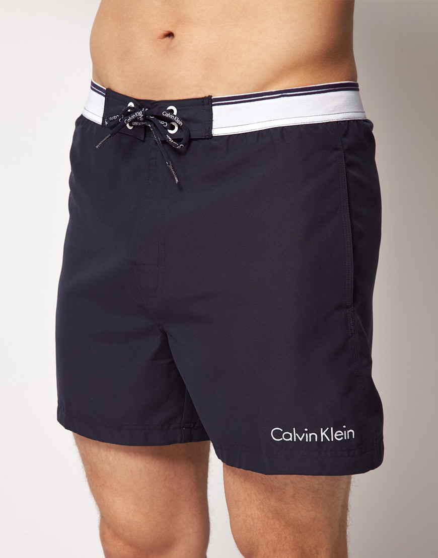 calvin klein exclusive swim shorts in blue for men lyst. Black Bedroom Furniture Sets. Home Design Ideas