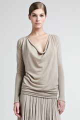 Donna Karan New York Drapeneck Cashmere Top - Lyst
