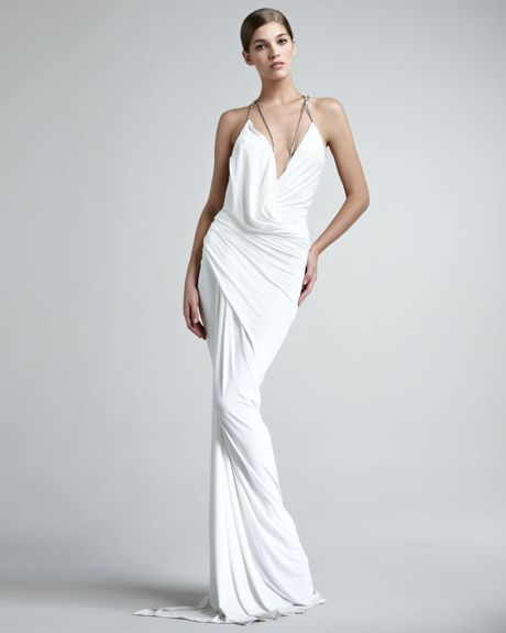 Donna karan new york superfine jersey gown in white for Donna karan wedding dresses