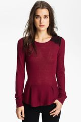 Hinge Lace Shoulder Peplum Sweater - Lyst