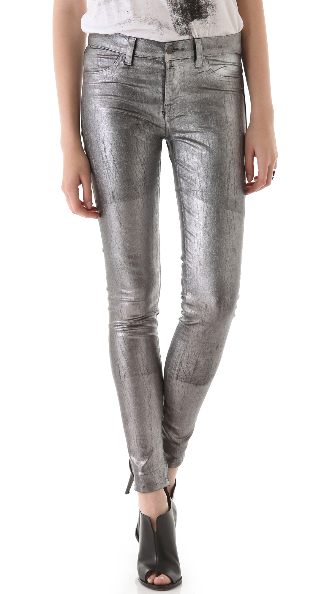 J brand 801 Coated Legging Jeans in Metallic | Lyst