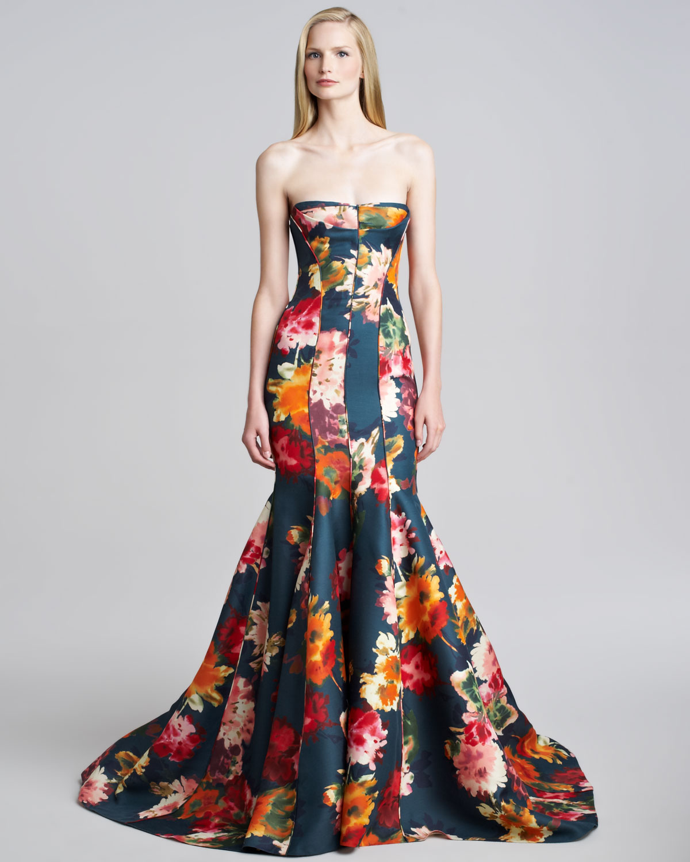 J Mendel Floral Gazar Strapless Gown In Multicolor Multi
