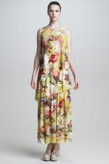 Jean Paul Gaultier Tiered Floralprint Maxi Dress - Lyst